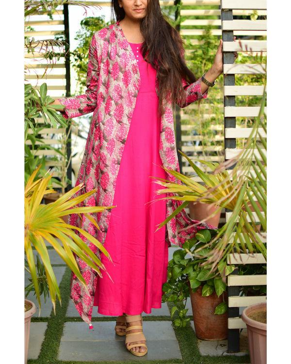 Pink rayon cape dress 1