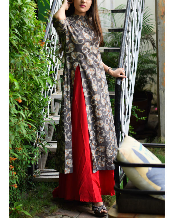 Grey & red printed rayon double layered dress 1