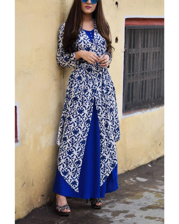Printed blue rayon cape dress 1