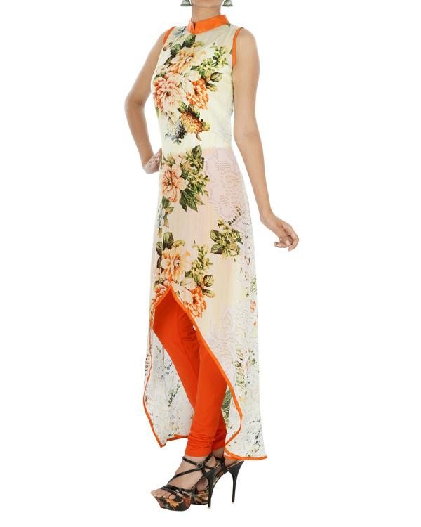 Orange floral kurta 2