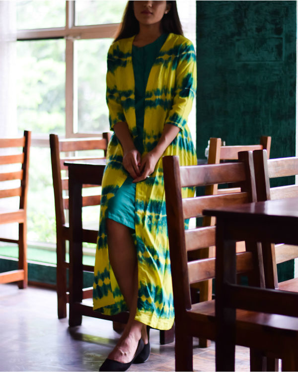 Yellow and earth green cape dress 2