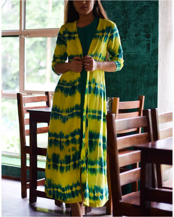 Yellow and earth green cape dress 1