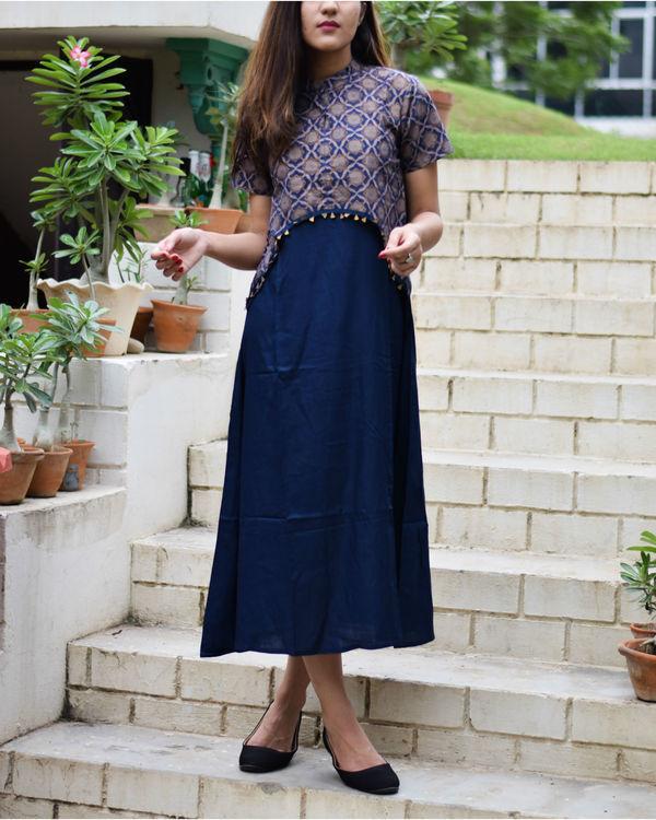 Navy blue crop top dress 2