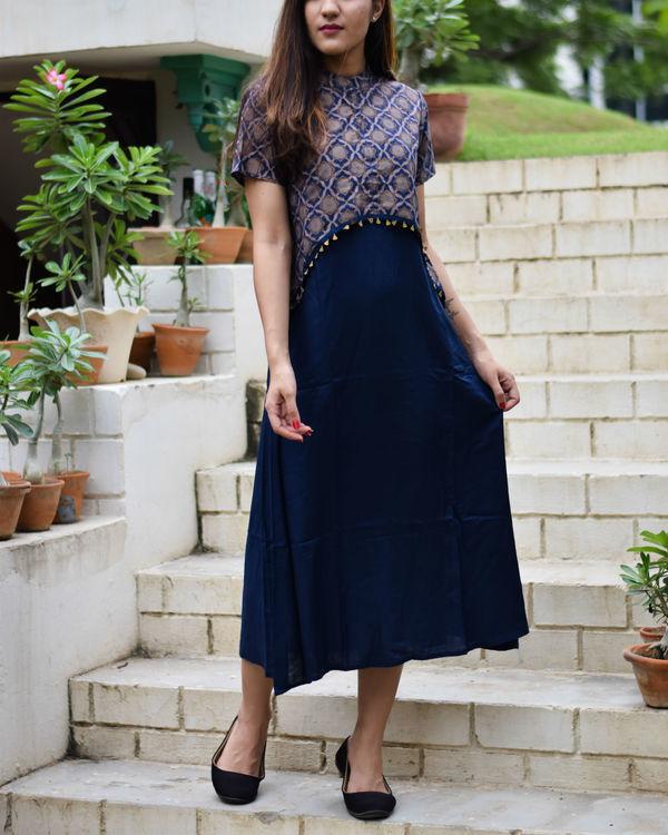 Navy blue crop top dress 1