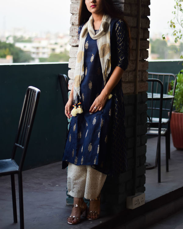 Deep blue anarkali with cutwork pants and tasseled stole 1