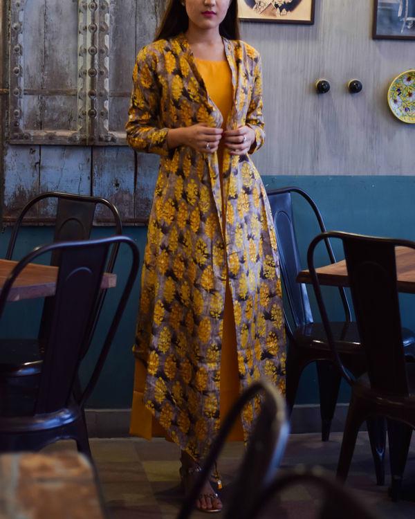 Yellow block print double layered dress 2
