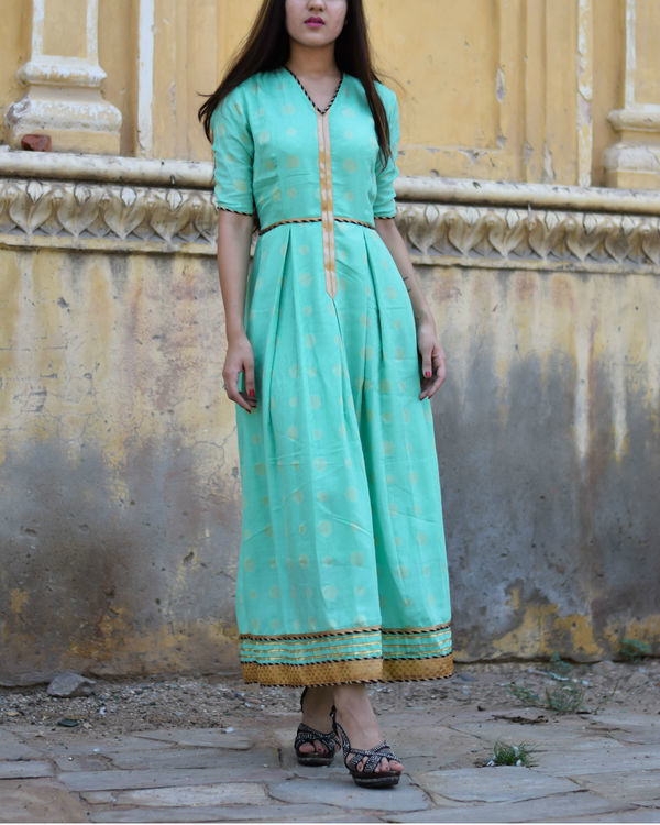 Cyan dress with gota work 2