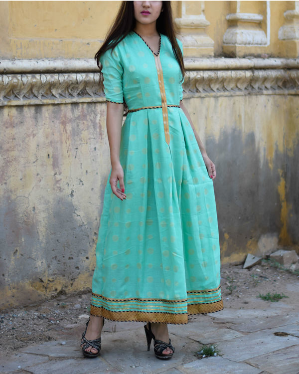 Cyan dress with gota work 1