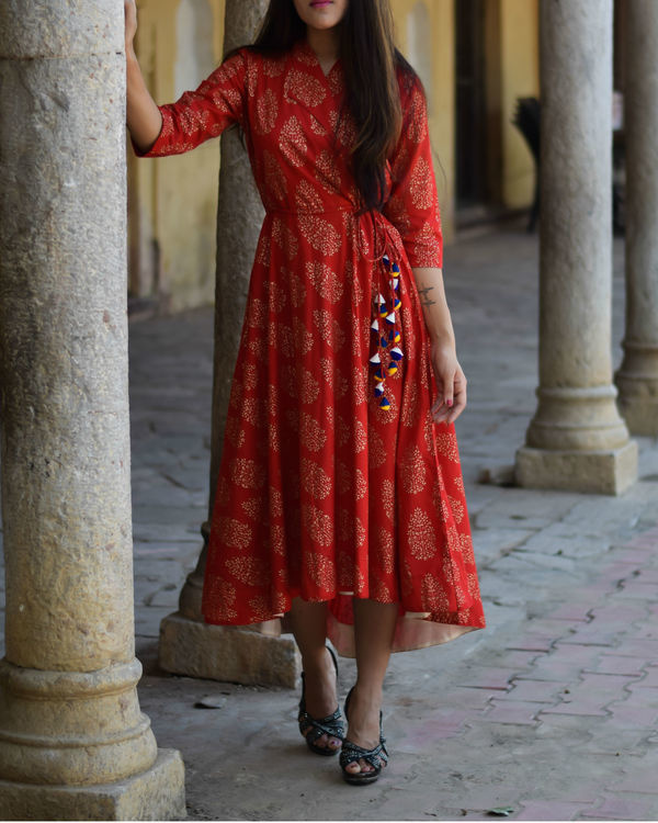 Red gold block printed wrap dress 1