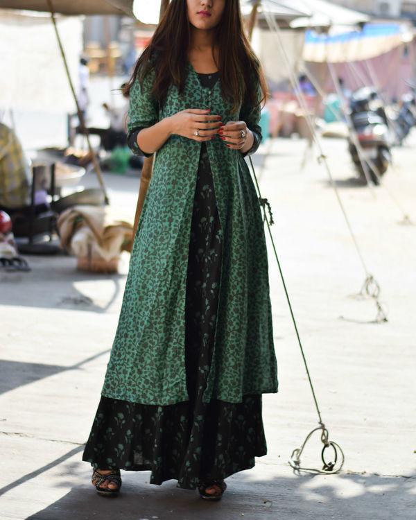 Bottle green cape dress 1