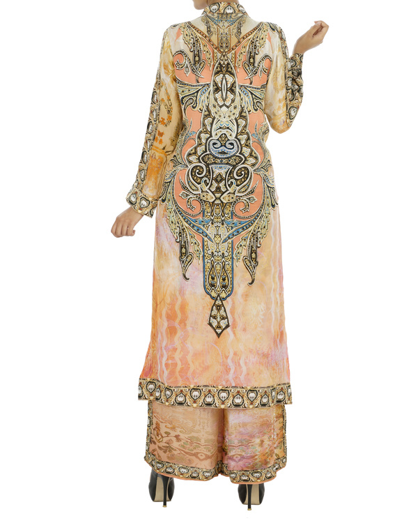 Peach and black kurta set with palazzo 4