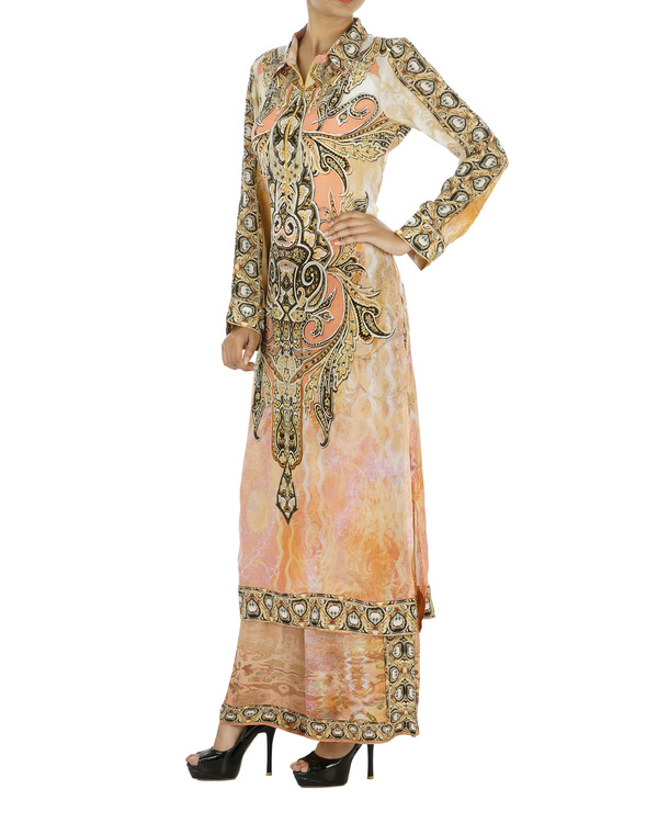 Peach and black kurta set with palazzo 5