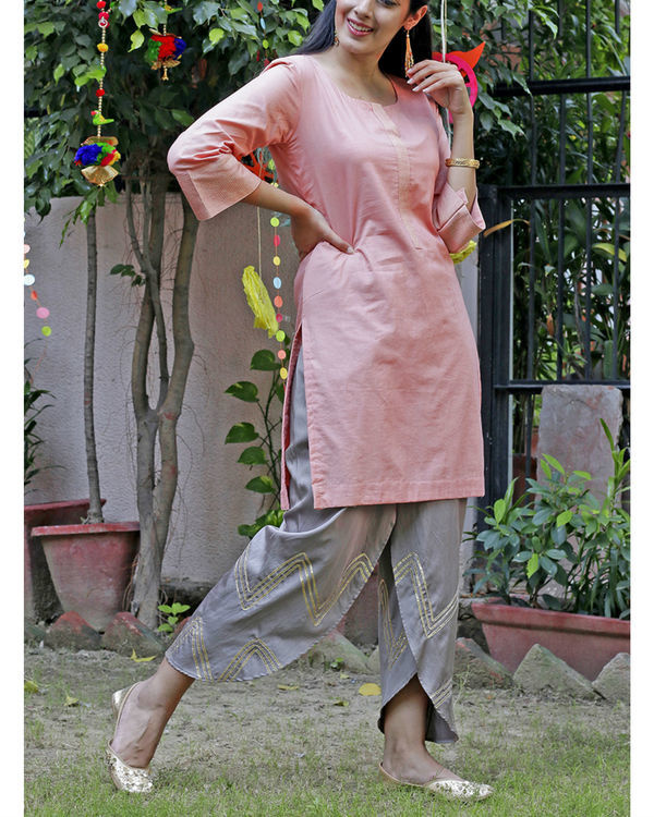 Peach dhoti set 3