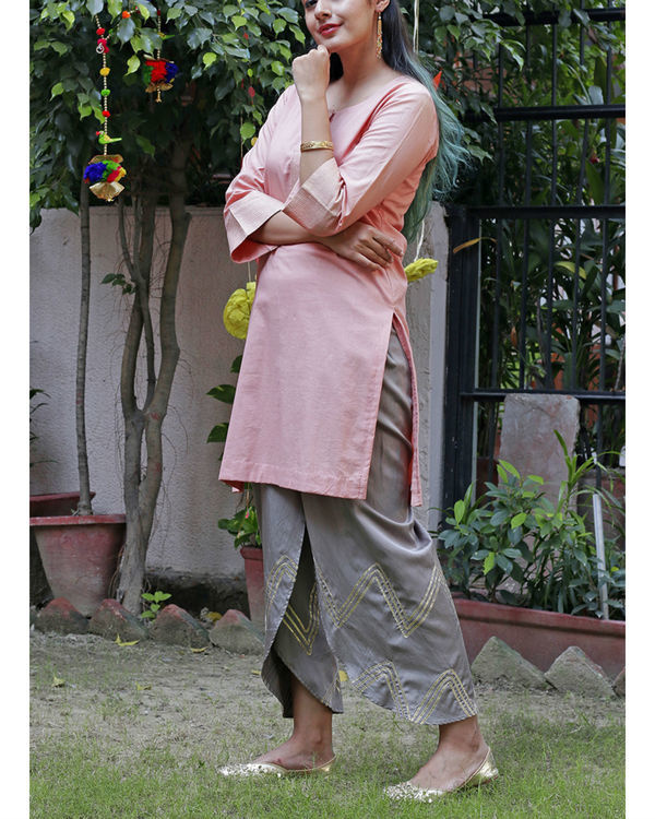 Peach dhoti set 2