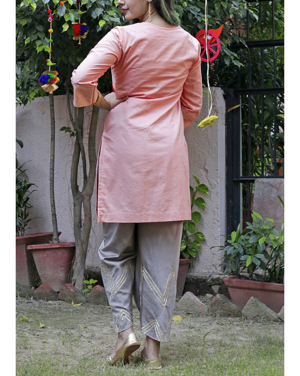 Peach dhoti set 1