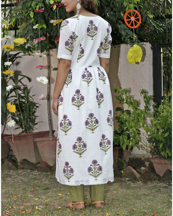 Purple big flower kurta set 1