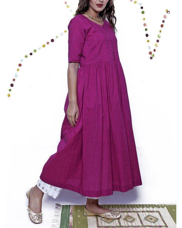 Eggplant kurta with beige pants 2