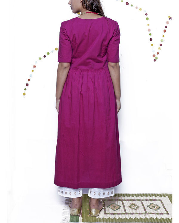 Eggplant kurta with beige pants 1