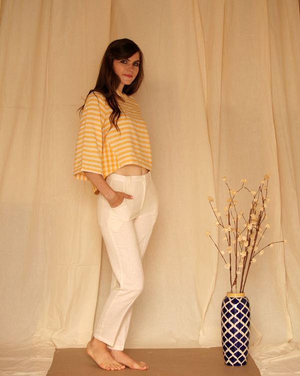 Yellow white bell sleeve top 3