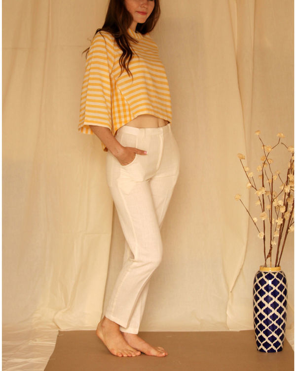 Yellow white bell sleeve top 1