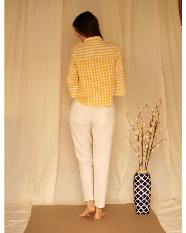 Yellow white bell sleeve top 2