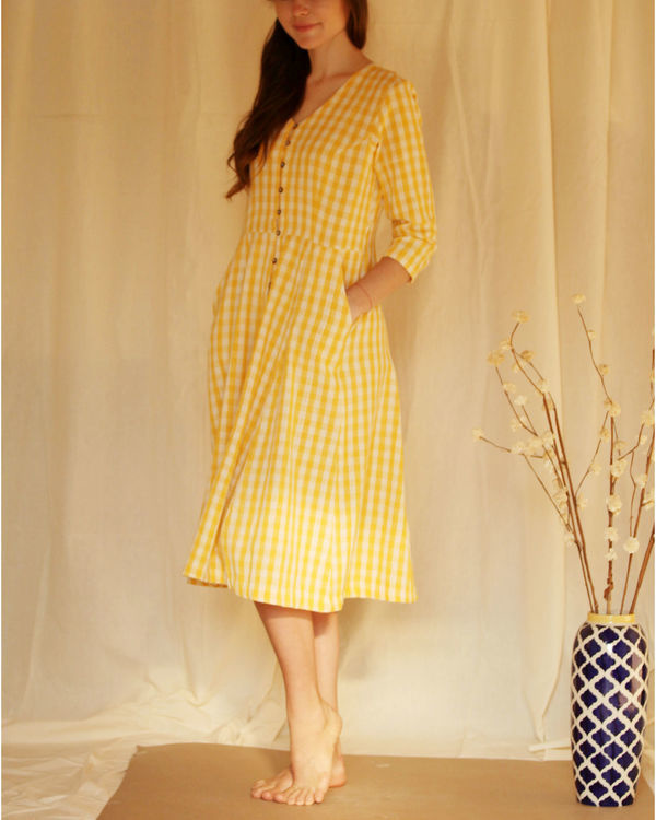 Yellow button down dress 4