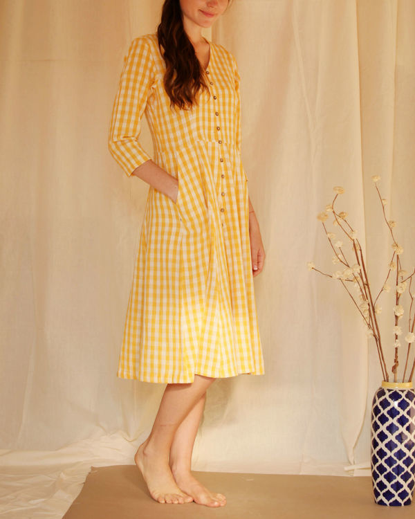 Yellow button down dress 3