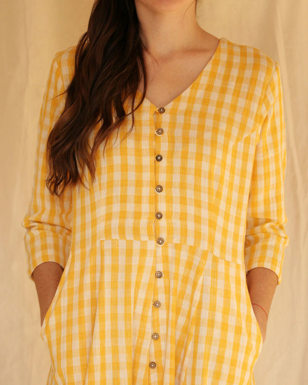 Yellow button down dress 1