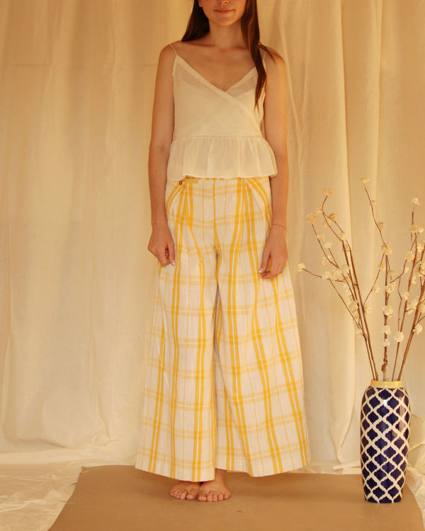 Yellow white checkered palazzo 2