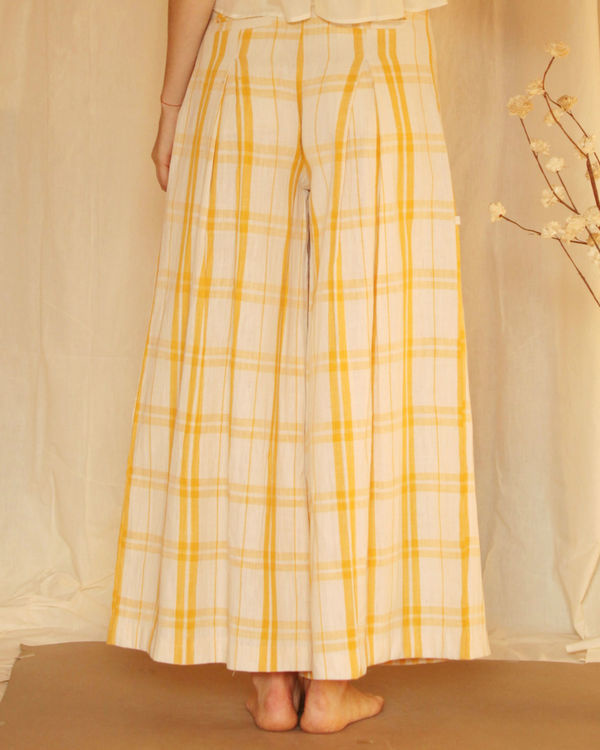 Yellow white checkered palazzo 1
