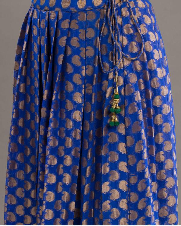 Royal blue brocade skirt 1