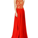 f962aa239c Red embroidered corset maxi dress by Shilpa Reddy
