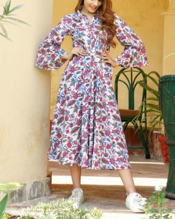 Pink floral midi dress 2