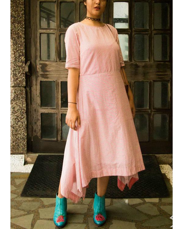 Pink stripes asymmetrical hemline dress 3