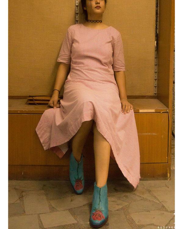 Pink stripes asymmetrical hemline dress 2