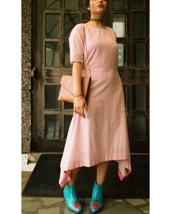 Pink stripes asymmetrical hemline dress 1