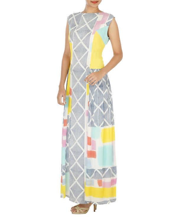 Block printed long dress 2
