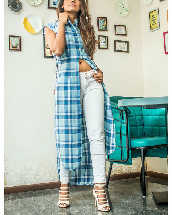 Checkered long shirt 3