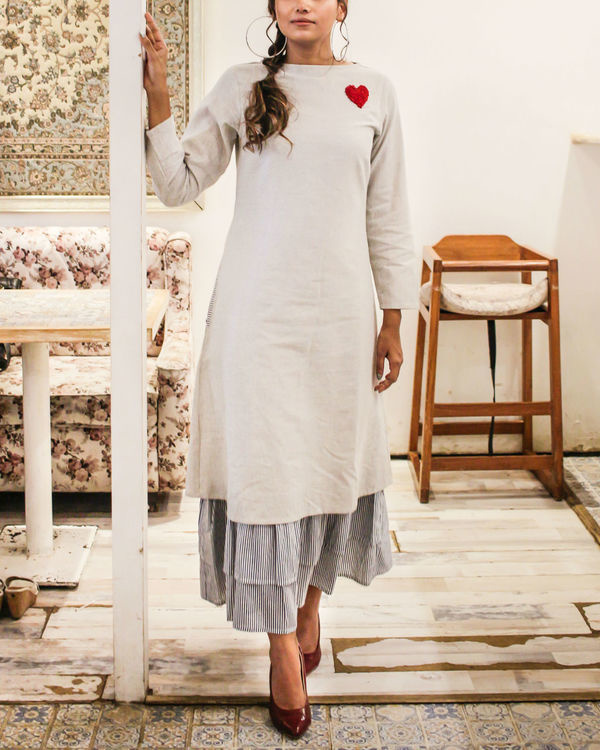 Multi layer heart embroidery dress 1