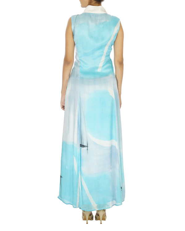 Shawl collar ice blue long dress 1