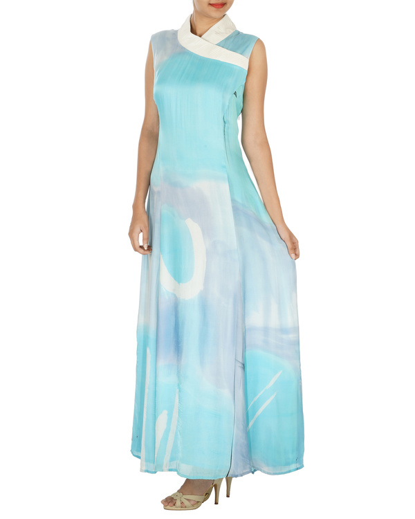Shawl collar ice blue long dress 2