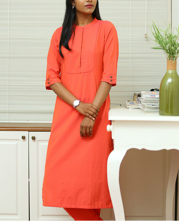 Peach cotton kurta set 4