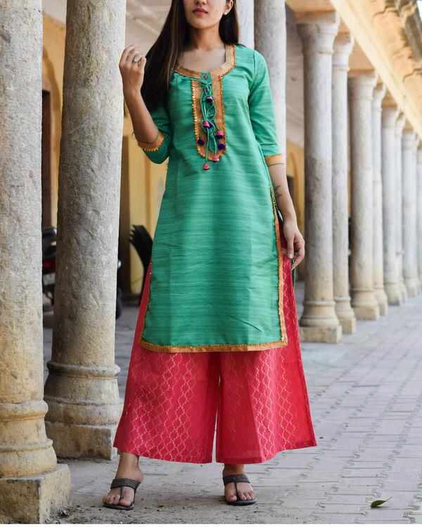 Sea green kurta with pink palazzo 2