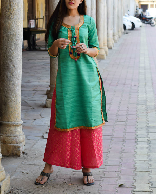 Sea green kurta with pink palazzo 1