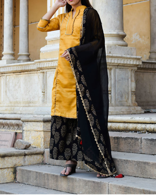 Yellow gota work kurta with palazzo and dupatta 2