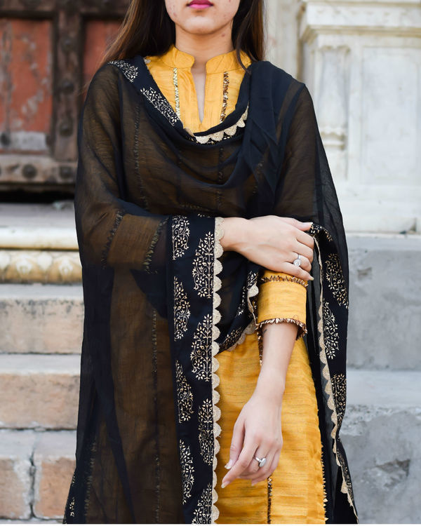 Yellow gota work kurta with palazzo and dupatta 1