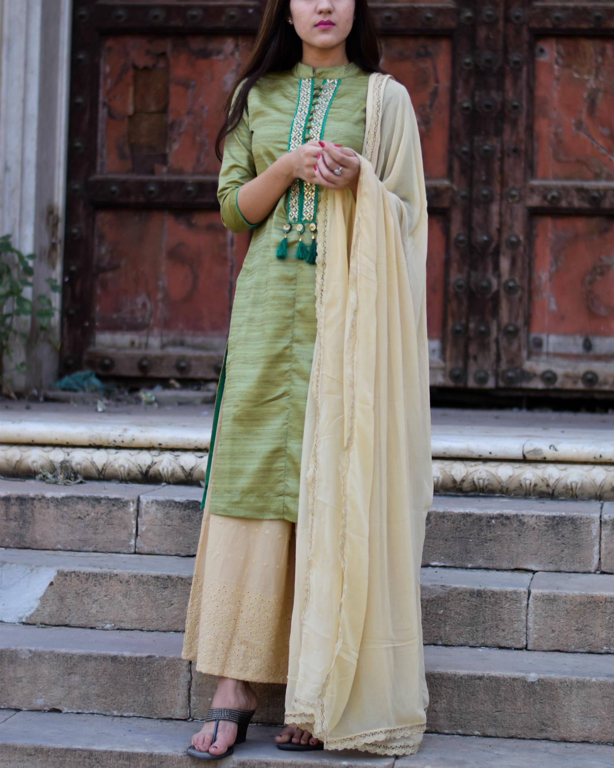 Ihram Kids For Sale Dubai: Green Gota Patti Kurta With Palazzo And Dupatta By Keva