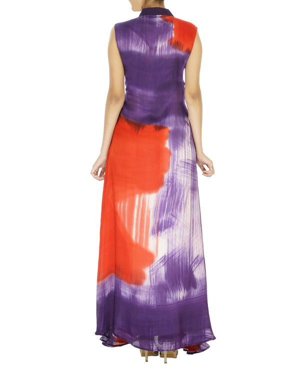 Purple and red hand painted long dress 1