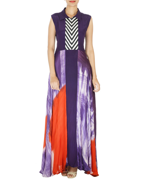 Purple and red hand painted long dress 2
