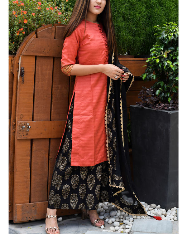 Red and black kurta palazzo and dupatta set 2